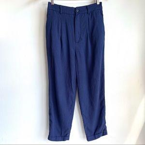 Zara navy blue pleated stretch pants size XS EUC